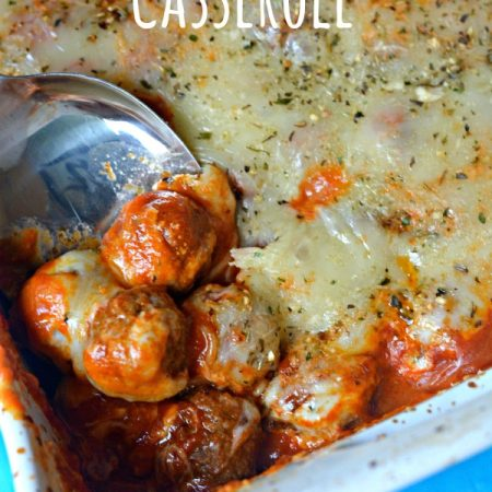 I love easy & delicious recipes like this Meatball Parmesan Casserole. You only need 5 ingredients, it's ready in minutes & it'll feed a crowd for cheap.