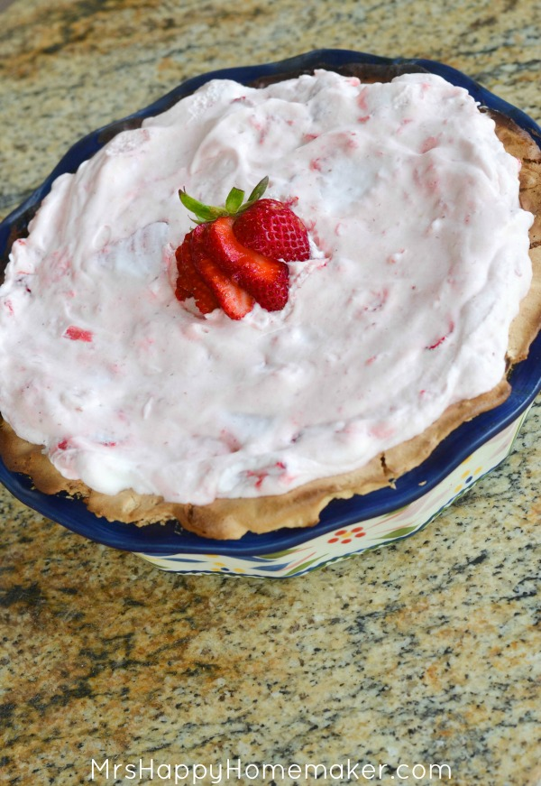 Strawberry Marshmallow Pie with Meringue Crust