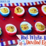 What's better than deviled eggs at a 4th of July or Memorial Day cookout? Red White & Blue Deviled Eggs, that's what! They're the perfect patriotic side dish! | MrsHappyHomemaker.com @thathousewife
