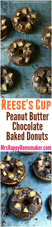 Reese's Cup Peanut Butter Chocolate Baked Donuts