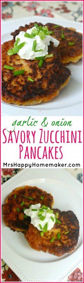 Garlic, onion, & cheddar cheese - mixed with shredded zucchini to make the BEST Zucchini Pancakes you've ever had. I like to top mine with sour cream & green onions. They are so very easy to make with minimal ingredients & can be whipped up in under 15 minutes! SO GOOD!! | MrsHappyHomemaker.com @thathousewife