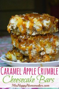 These Caramel Apple Crumble Cheesecake Bars are a combination of apple cobbler, caramel apples, & cheesecake - and they are out of this world delicious!   MrsHappyHomemaker.com @MrsHappyHomemaker