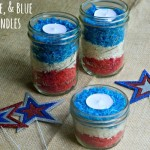 Looking for a fast & easy centerpiece for your 4th of July or Memorial Day table? These simple Red, White, & Blue Rice Candles (yes made out of rice!) are right up your alley! | MrsHappyHomemaker.com