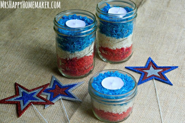 Red White Blue Rice Candles Mrs Happy Homemaker