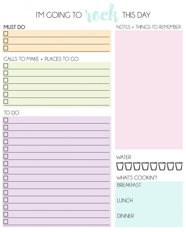 photo relating to Daily Planner Printable identified as Free of charge Printable Every day Planner - Mrs Content Homemaker