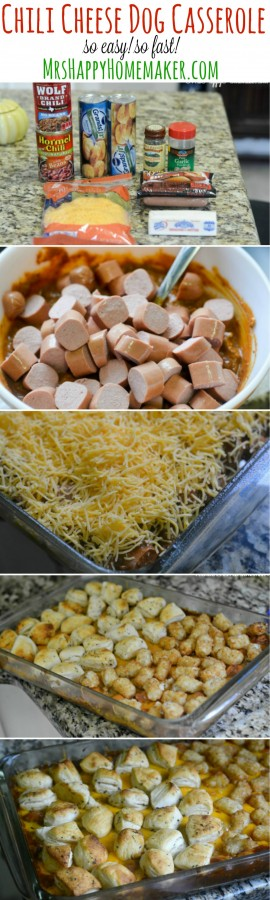 You can do this Chili Cheese Dog Casserole 2 ways - both ways are so very good! You may already have everything on hand to make it too. The flavor along with it's simplicity & quick preparation has all the makings of a winning recipe. If you like chili cheese dogs, you're gonna fall in love with this casserole! | MrsHappyHomemaker.com @thathousewife
