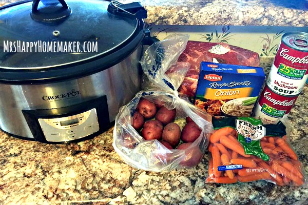 Are you looking for an absolutely delicious pot roast that requires almost no effort at all? Look no further because you've found it! My Crockpot Pot Roast is the BEST EVER, only requires 5 ingredients, & is as simple as throwing the ingredients in your slow cooker and turning it on. Perfection! | MrsHappyHomemaker.com @mrshappyhomemaker