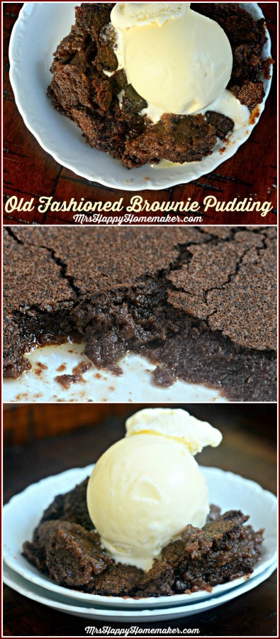 My Grandma's Old Fashioned Brownie Pudding recipe is a chocolate lover's dream. Warm, rich, fudgy chocolate with a thin 'brownie edge' crust. Only 6 simple ingredients too! INCREDIBLE!   MrsHappyHomemaker.com @thathousewife