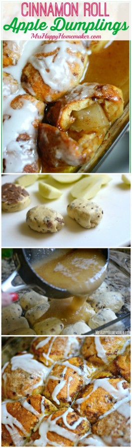 Cinnamon Roll Apple Dumplings - as in these delicious apple dumplings are encased with cinnamon rolls!|  MrsHappyHomemaker.com