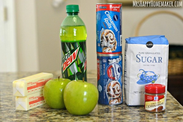 The Ingredients to makeCinnamon Roll Apple Dumplings - as in these delicious apple dumplings are encased with cinnamon rolls!|  MrsHappyHomemaker.com