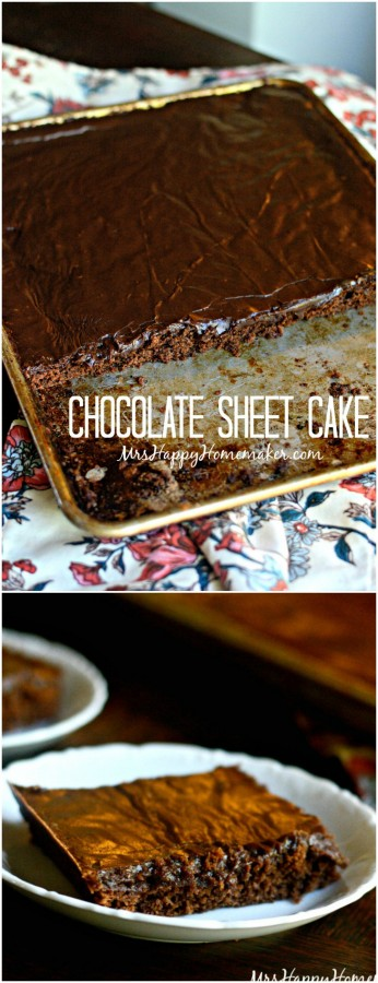 chocolate sheet cake collage