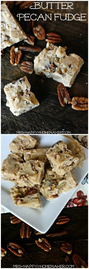 BUTTER PECAN FUDGE - this recipe is so easy. I can't get enough of this yummy fudge! | MrsHappyHomemaker.com @thathousewife