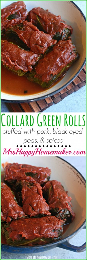 COLLARD GREEN ROLLS - stuffed with pork, black eyed peas, garlic, BACON, onion, & spices. SO SO GOOD!!
