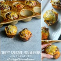 Cheesy Sausage Egg Muffins - Only 4 Ingredients! Perfect grab & go breakfast....just reheat for 30 seconds in the microwave. Freezable too! | MrsHappyHomemaker.com