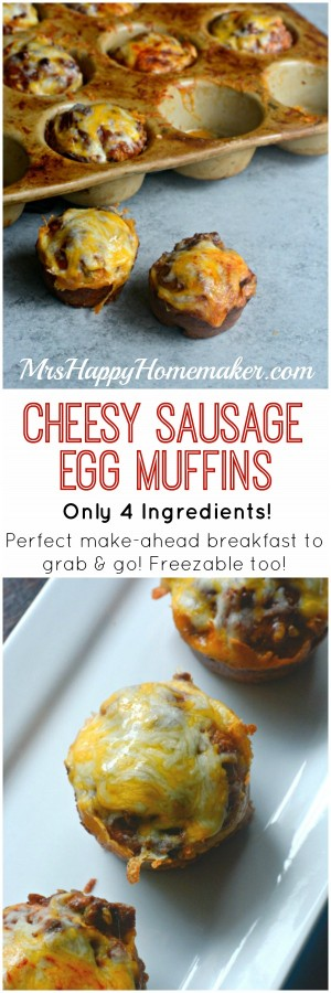 CHEESY SAUSAGE EGG MUFFINS - these delicious breakfast bites only ...