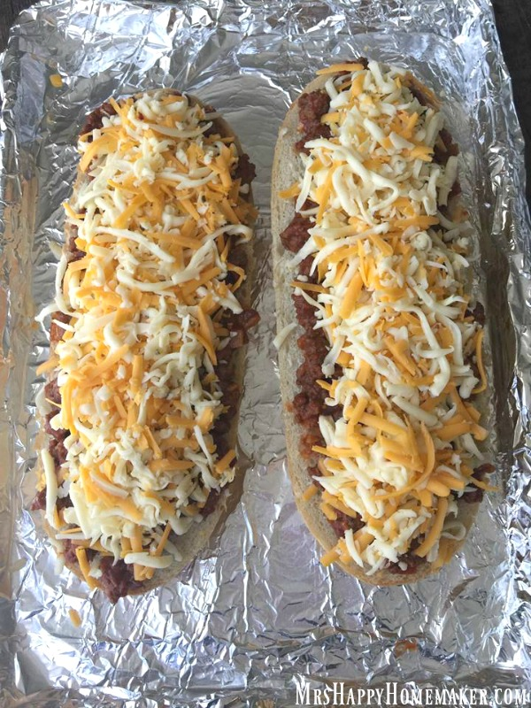 sloppy Joe French bread pizzas unbaked