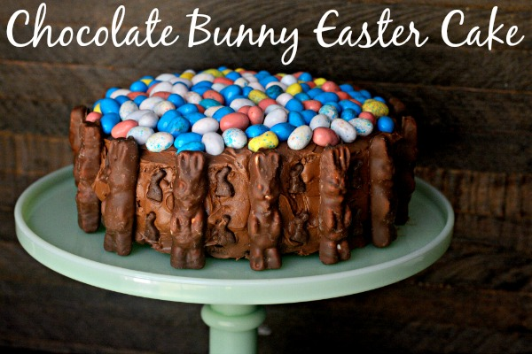 Chocolate Bunny Easter Cake - so easy & cute!!   MrsHappyHomemaker.com @mrshappyhomemaker