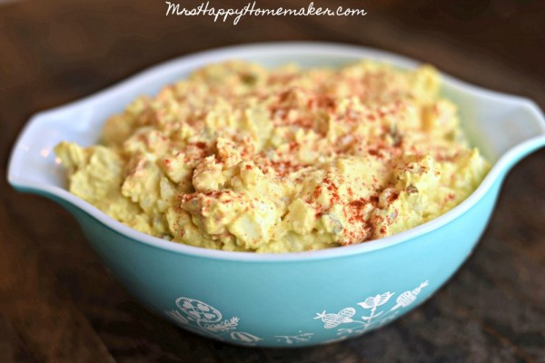 The BEST Potato Salad I've EVER Had! In a blue pyrex bowl