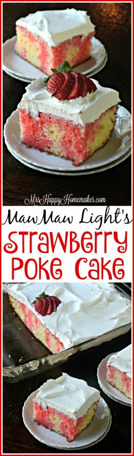 My MawMaw Light made the BEST Strawberry Poke Cake & it's so easy! This is her recipe :) | MrsHappyHomemaker.com @thathousewife