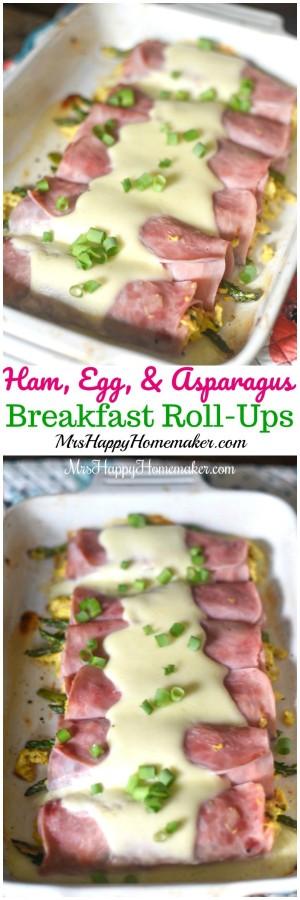 Ham, Egg, & Asparagus Breakfast Roll-Ups | MrsHappyHomemaker.com @thathousewife