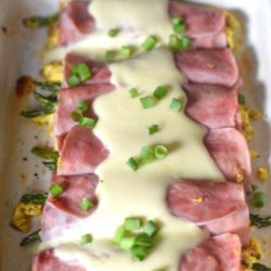 Ham & Asparagus Breakfast RollUps with cheese Sauce