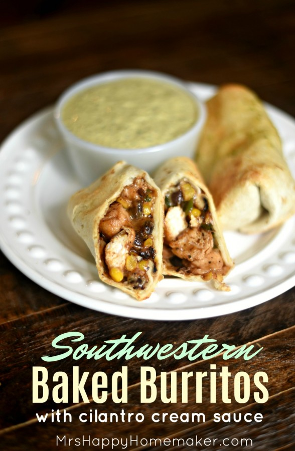 Southwestern Baked Burritos with Cilantro Cream Sauce