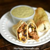 Southwestern Baked Burritos with Cilantro Cream Sauce