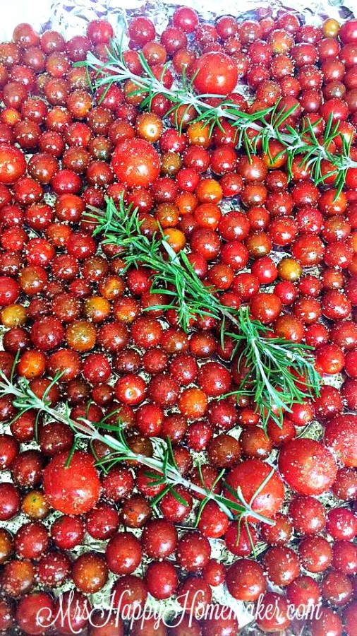 Roasting cherry tomatoes with rosemary