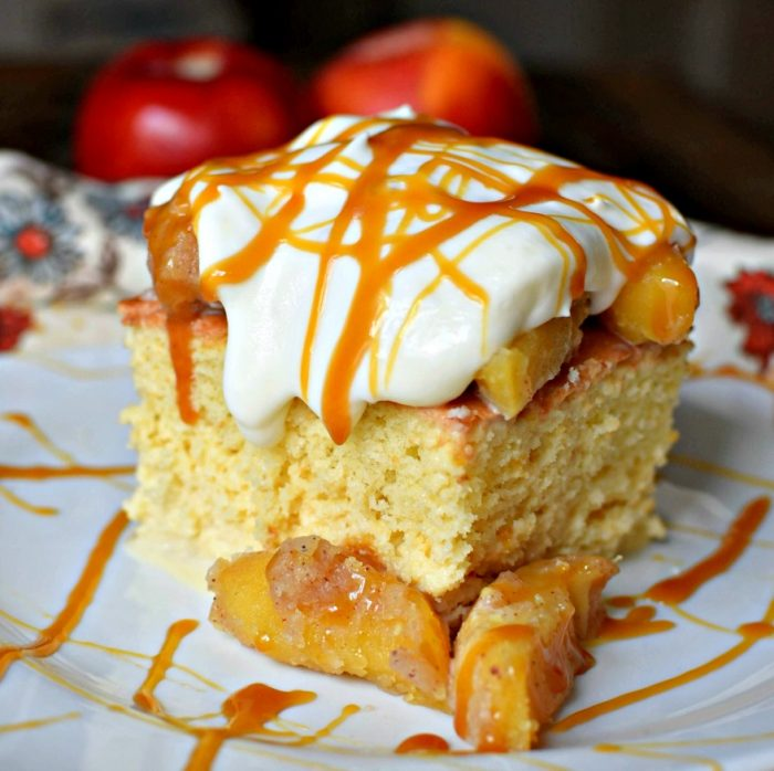 Tres Leches Cake + Apple Pie + Caramel Apples - Caramel Apple Tres Leches Cake