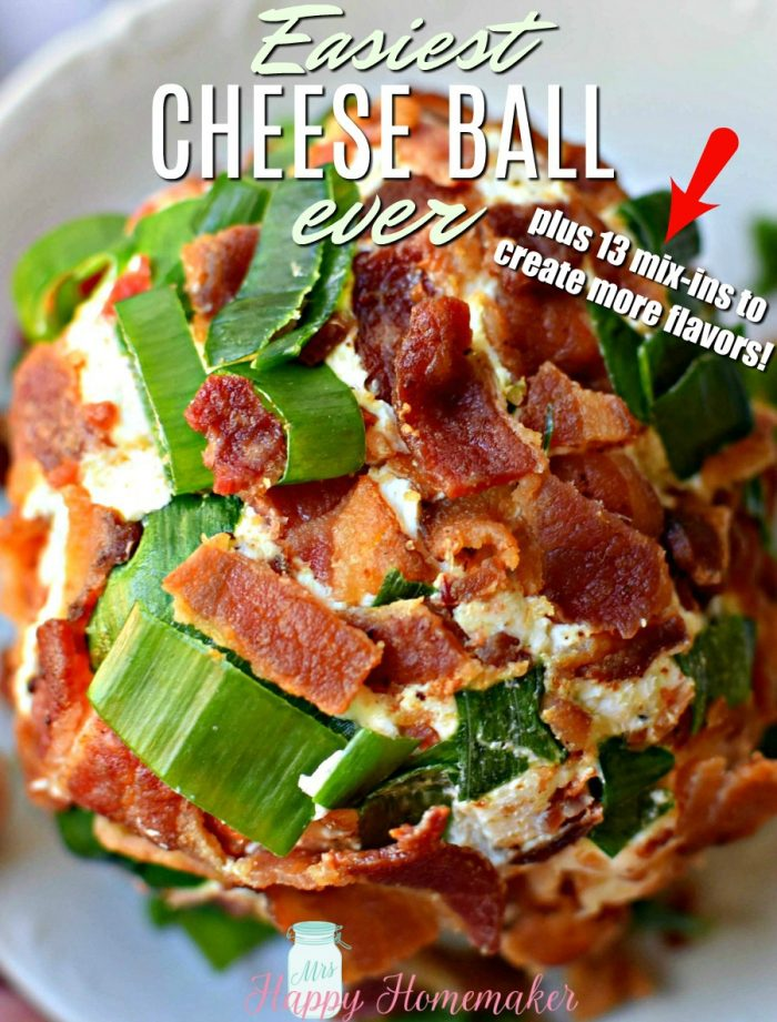The EASIEST Cheese Ball EVER - plus 13 mix-in ideas to create even more flavors. This is one you're going to want to save!!
