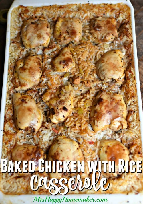 This Baked Chicken with Rice recipe came from an old church cookbook of my grandmother's. It's so simple & delicious – I think you'll like it as much as we do! Just add a veggie & you have a whole meal! | MrsHappyHomemaker.com @mrshappyhomemaker