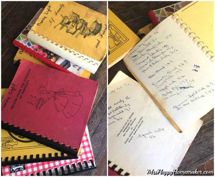 pile of old cookbooks