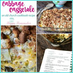 Cabbage Casserole, an old church cookbook recipe collage | MrsHappyHomemaker.com