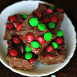 Easy M & M Fudge stacked up