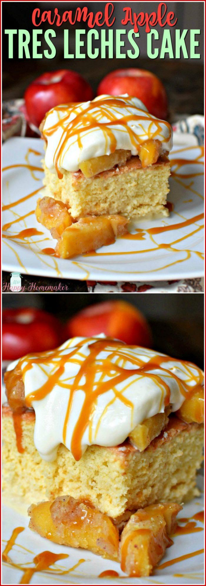 Caramel Apple Tres Leches Cake | MrsHappyHomemaker.com