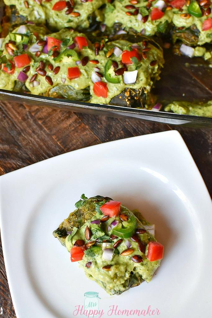Pork Poblano Collard Green Rolls with Creamy Avocado Sauce - Whole30/Paleo Enchiladas \
