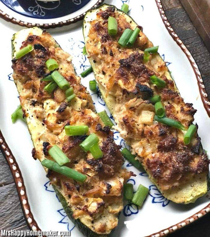 Crab Stuffed Zucchini Boats garnished with green onions