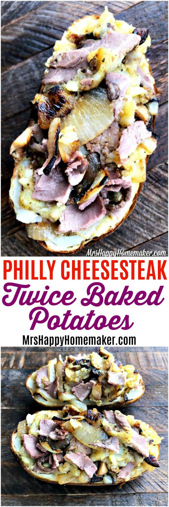 Philly Cheesesteak Twice Baked Potatoes