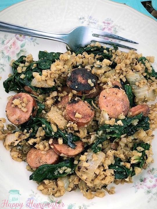 Chicken Sausage, Spinach, & Cauliflower Rice Skillet