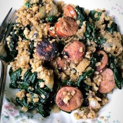 Chicken Sausage, Spinach, & Cauliflower Rice Skillet - Whole30|Paleo|Gluten Free|Keto