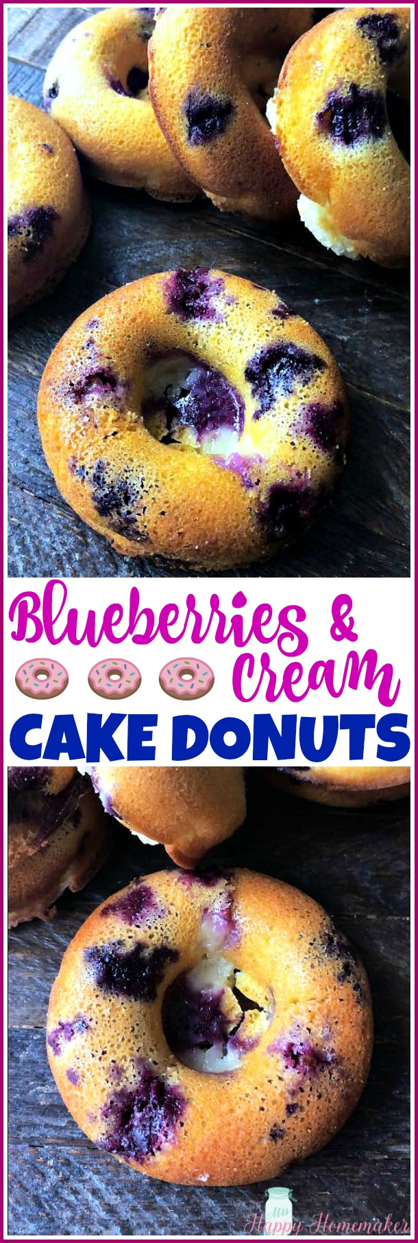 Blueberries & Cream Cake Donuts | MrsHappyHomemaker.com