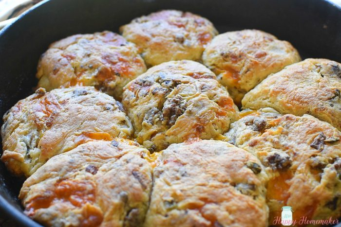 Cheesy Sausage Jalapeno Buttermilk Biscuits in a cast iron skillet