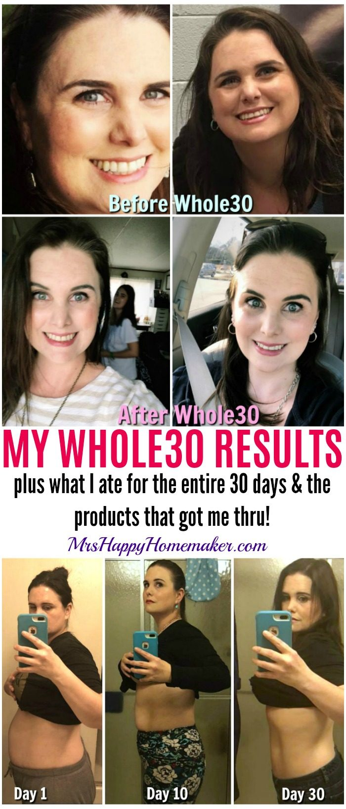My Whole30 Results - before & after photos too, plus what I ate for the entire 30 days