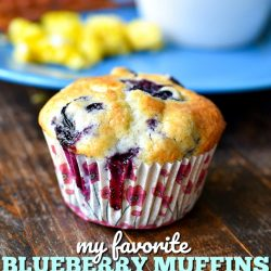 I've been making this recipe for Blueberry Muffins for nearly 20 years. I've tried many others but I always come back to this one - it's my favorite of all time! | MrsHappyHomemaker.com @mrshappyhomemaker