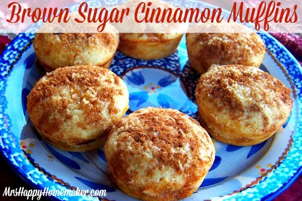 brown sugar cinnamon muffins on a blue plate
