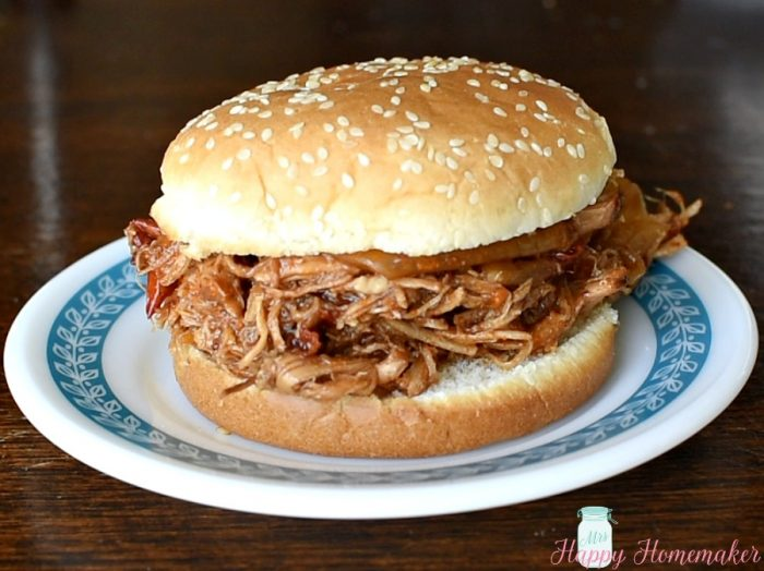 Spicy Dr. Pepper Pork shredded on a bun - pork sandwich