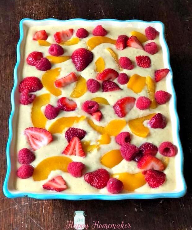 Fruit Cobbler Baked Oatmeal unbaked | MrsHappyHomemaker.com
