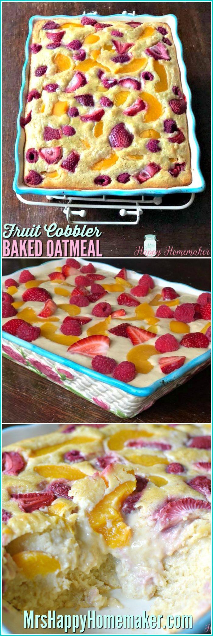 Fruit Cobbler Baked Oatmeal | MrsHappyHomemaker.com