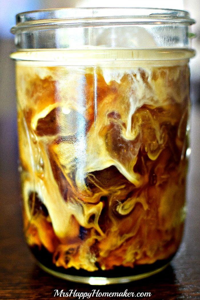 Whole30 iced coffee in a mason jar