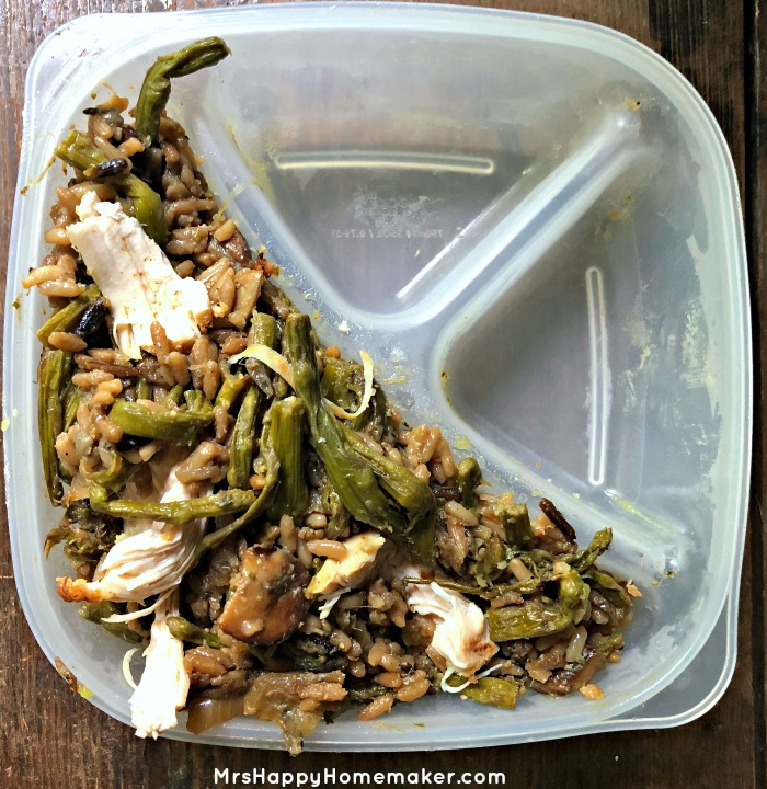 10 Minute Asparagus Rice Pilaf in a divided dish